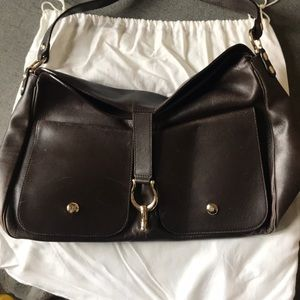 Dark brown leather bag kate spade gold buckle